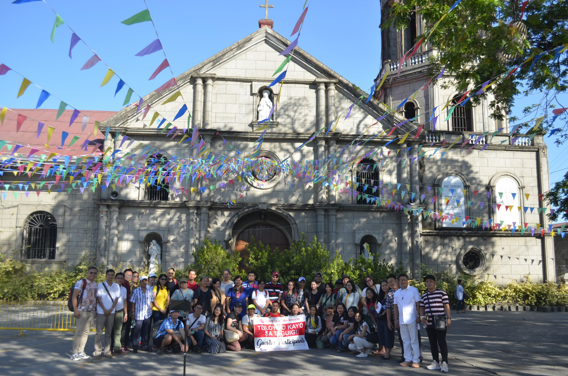 The participants of GKI's Cultural Mapping Facilitator Training pose in front of Santa Ana Church during a cultural immersion activity in the historic district of Taguig City on 29 February 2020.